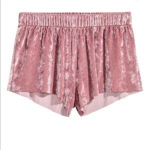 Crushed-velvet shorts
